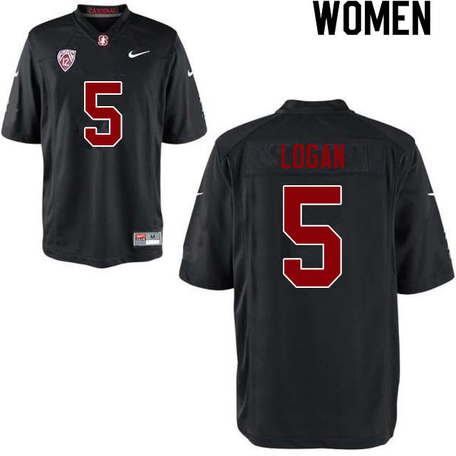 Women #5 Donjae Logan Stanford Cardinal College Football Jerseys Sale-Black
